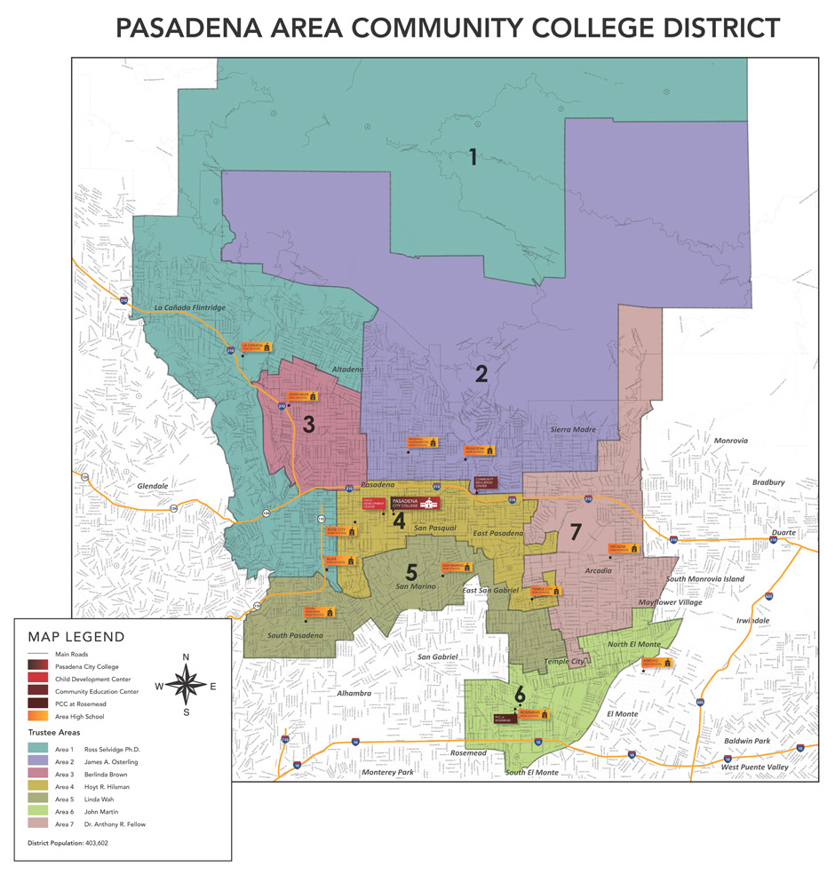 Pasadena Area Community College District Map Board Of