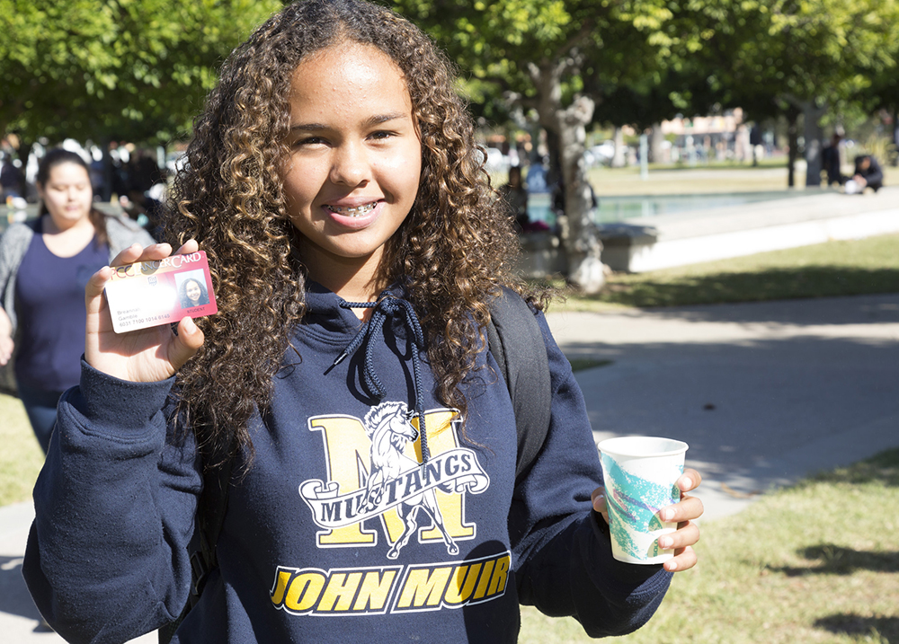 High school student shows offer her PCC Lancer Card