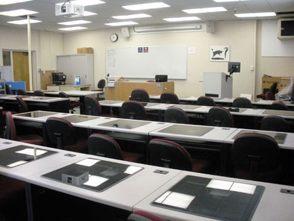 Interior shot of the foreign language lab