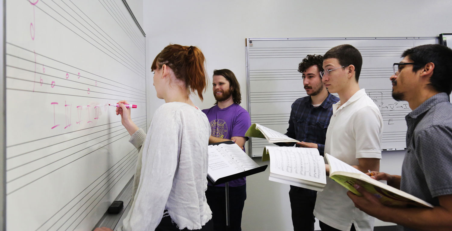 Students work together in a Music Theory course.