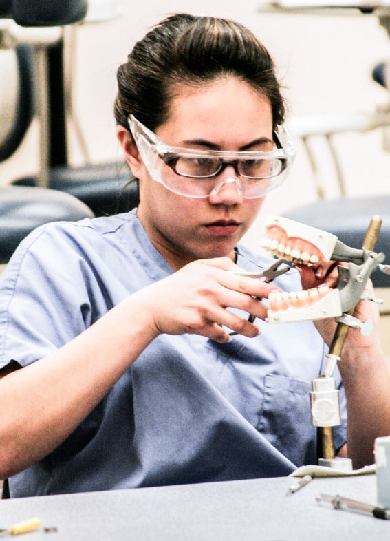 Dental Assisting students work in class.