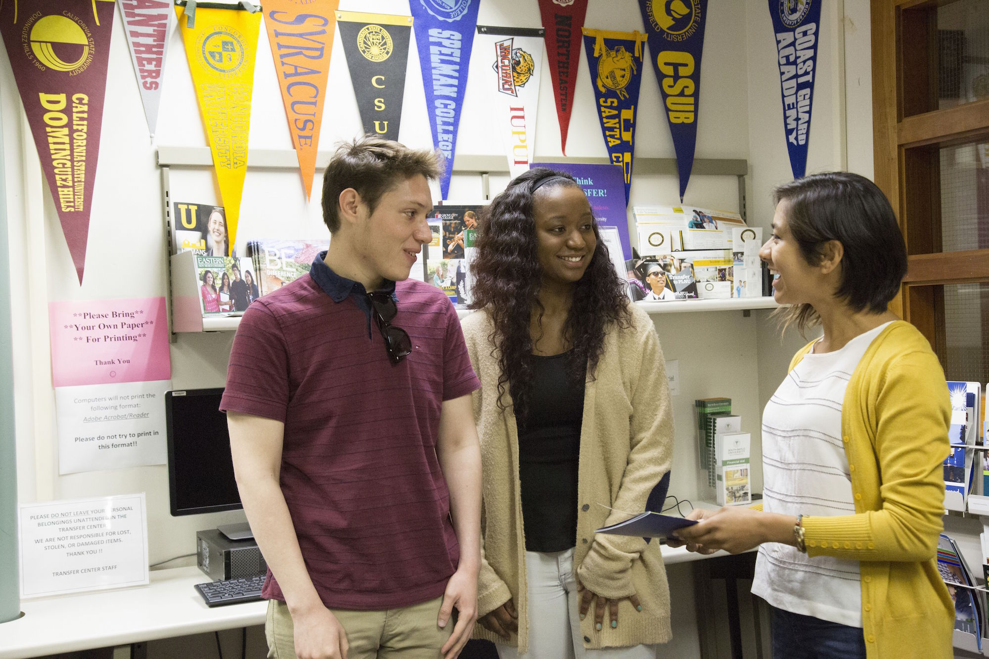 students receive help in the transfer center