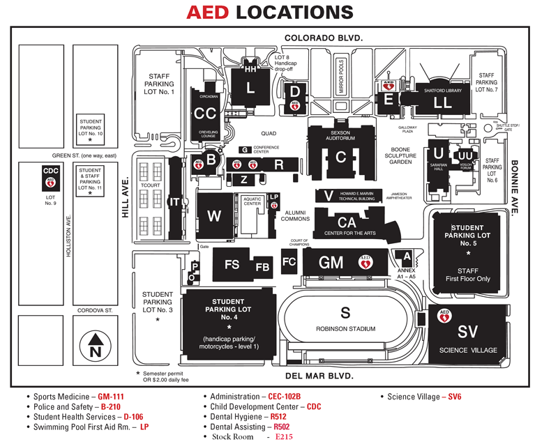 Pasadena City College Campus Map Automated External Defibrillators (AED) Locations   Police